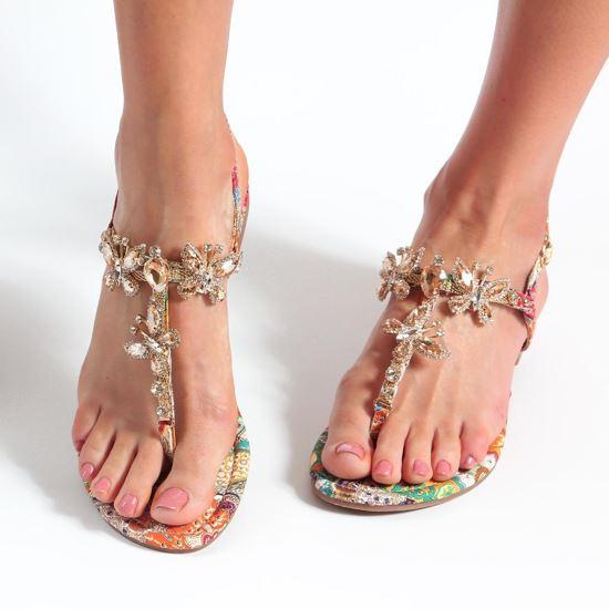 Immagine di VANILLA PUNK -  Sandalo infradito gioiello con farfalle e pietre, fantasia cashmere