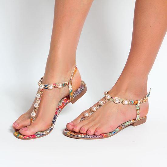 Immagine di VANILLA PUNK -  Sandalo infradito gioiello con perle e fantasia cashmere