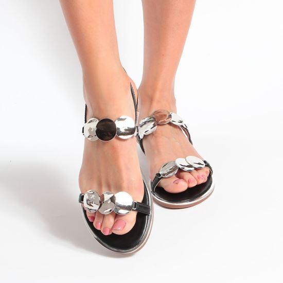 Immagine di MISS GLOBO - Sandalo con doppia fascia con applicazioni metalliche