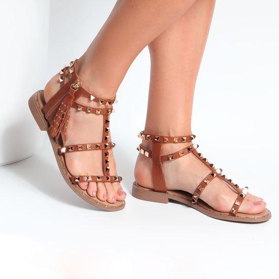 Immagine di MISS GLOBO - Sandalo con borchie e zip laterale con pennacchio a frange