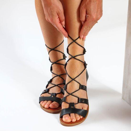 Immagine di ZOE - Sandalo nero lace-up con borchie