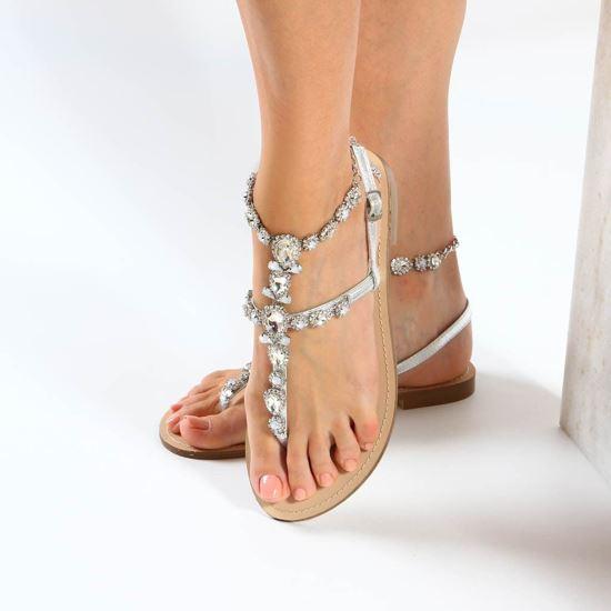 Immagine di MISS GLOBO - Sandalo infradito gioiello argento con pietre e strass e sottopiede in cuoio rigenerato