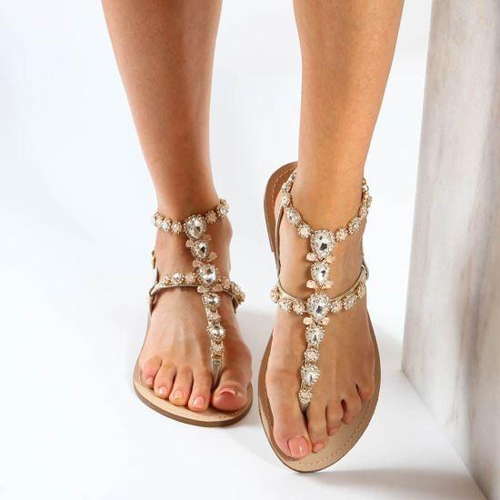 Immagine di MISS GLOBO - Sandalo infradito gioiello oro con pietre e strass e sottopiede in cuoio rigenerato