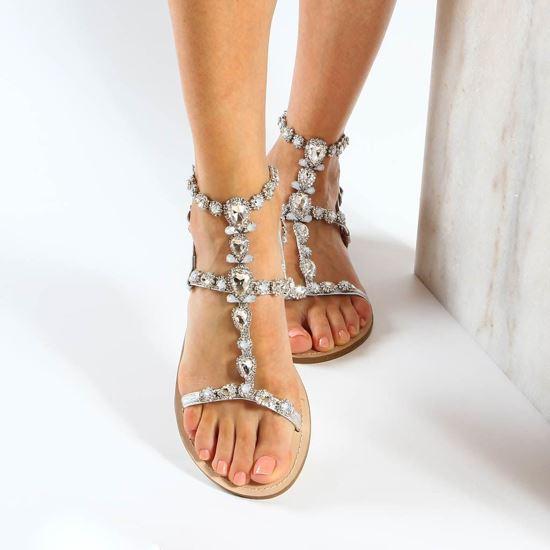 Immagine di MISS GLOBO - Sandalo gioiello argento con pietre e strass e sottopiede in cuoio rigenerato