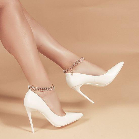 Immagine di MISS GLOBO - Décolleté bianca con sottopiede in VERA PELLE e catenina oro con strass alla caviglia, tacco 10,5CM