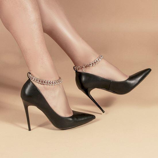 Immagine di MISS GLOBO - Décolleté nera con sottopiede in VERA PELLE e catenina oro con strass alla caviglia, tacco 10,5CM
