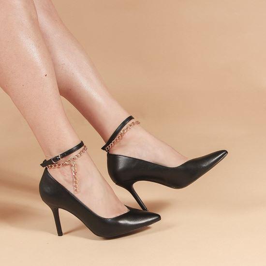 Immagine di MISS GLOBO - Décolleté nera con sottopiede in VERA PELLE e catenina oro alla caviglia, tacco 8CM