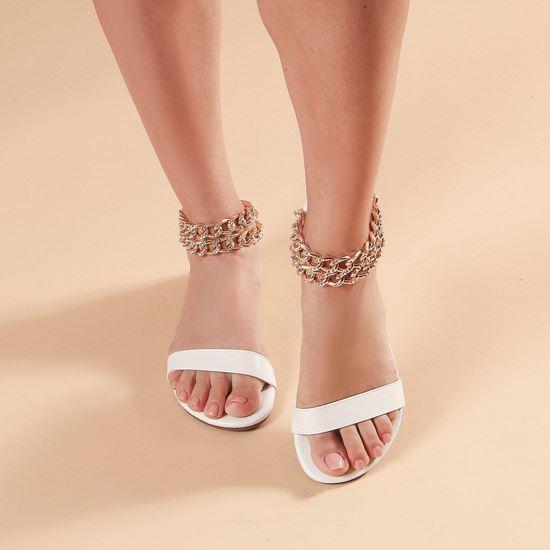 Immagine di MISS GLOBO - Sandalo bianco con sottopiede in VERA PELLE e doppia catena oro con strass alla caviglia