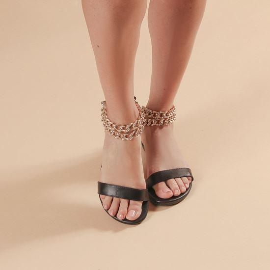 Immagine di MISS GLOBO - Sandalo nero con sottopiede in VERA PELLE e doppia catena oro con strass alla caviglia