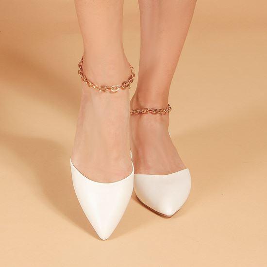 Immagine di MISS GLOBO - Ballerina bianca a punta con sottopiede in VERA PELLE e catenina oro alla caviglia
