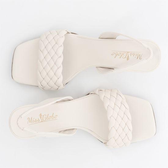 Immagine di MISS GLOBO - Sandalo bianco con fascia intrecciata, tacco 6cm MADE IN ITALY