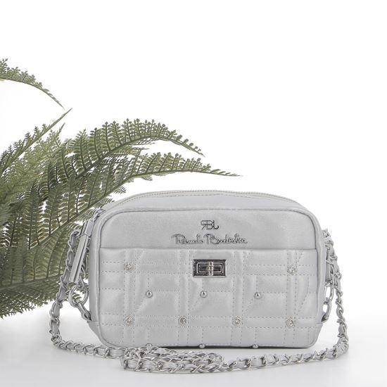 Immagine di RBJ RENATO BALESTRA- Tracolla argento con tasca trapuntata, borchie e strass e chiusura a girello