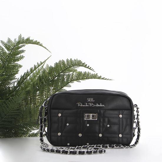 Immagine di RBJ RENATO BALESTRA- Tracolla nera con tasca trapuntata, borchie e strass e chiusura a girello