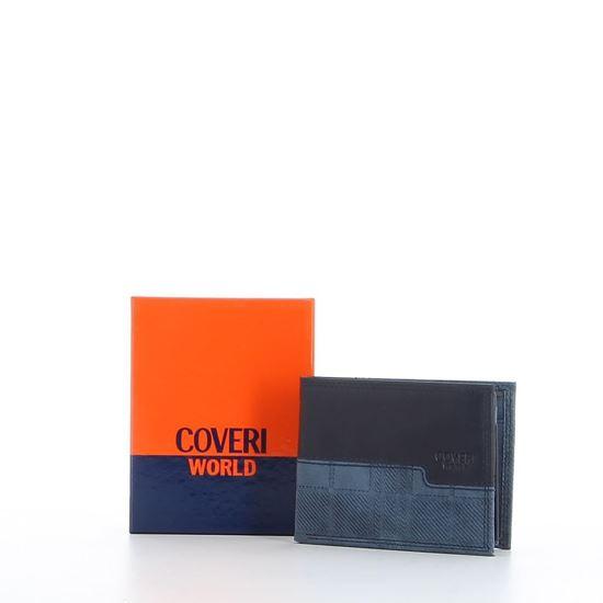 Immagine di COVERI WORLD - Portafoglio blu in VERA PELLE con ribaltina e scomparto interno porta spicci