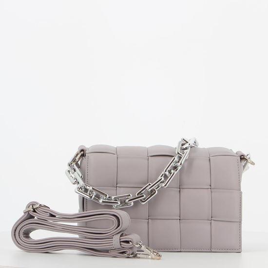 Immagine di MARINA GALANTI - Tracolla lilla con fasce intrecciate e patta, tracolla rimovibile e pochette interna estraibile