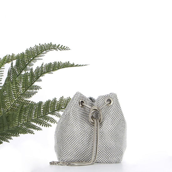 Immagine di MARINA GALANTI - Borsa a secchiello argento con strass