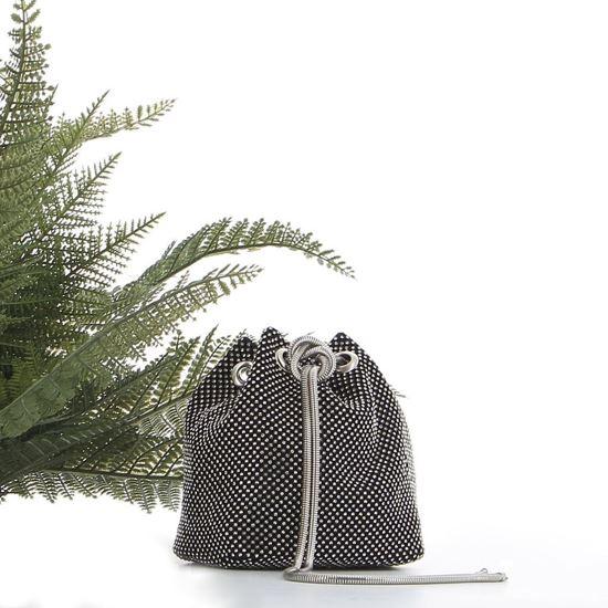 Immagine di MARINA GALANTI - Borsa a secchiello nera con strass