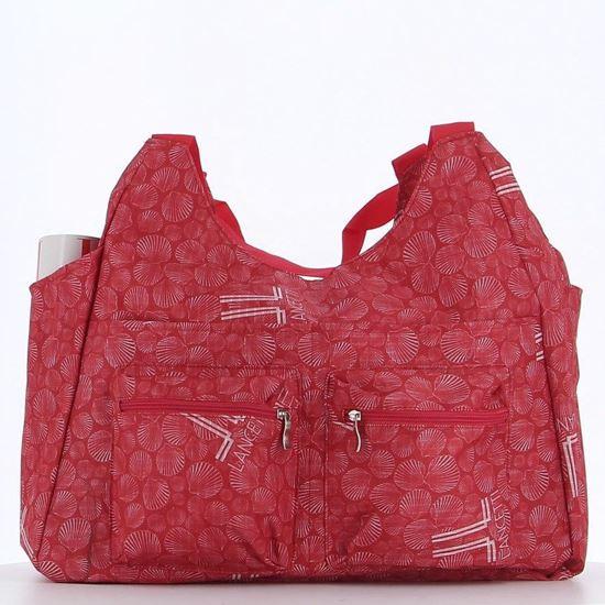 Immagine di LANCETTI – Borsa mare rosso con stampa logo e conchiglia c/ doppia tasca frontale e tasca posteriore zip