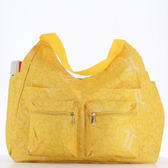 Immagine di LANCETTI – Borsa mare gialla con stampa logo e conchiglia c/ doppia tasca frontale e tasca posteriore zip