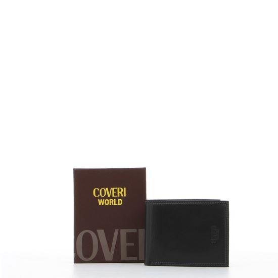 Immagine di COVERI – Portafoglio nero in vera pelle con interno multicolore, ribaltina e scomparto porta spicci