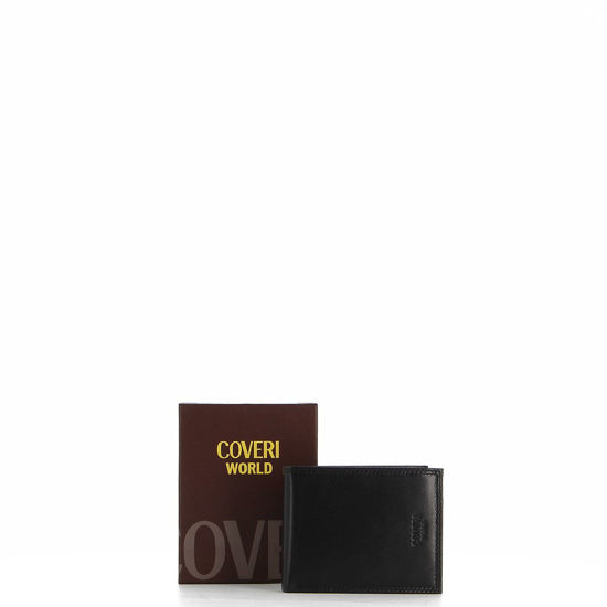 Immagine di COVERI – Portafoglio nero in vera pelle con logo laterale, ribaltina interna e scomparto porta spicci