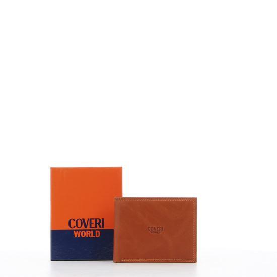 Immagine di COVERI – Portafoglio arancio in vera pelle con logo centrale, ribaltina interna e scomparto porta spicci