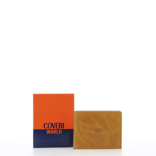 Immagine di COVERI – Portafoglio ocra in vera pelle con logo centrale, ribaltina interna e scomparto porta spicci