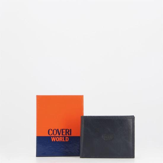 Immagine di COVERI – Portafoglio blu in vera pelle con logo centrale, ribaltina interna e scomparto porta spicci