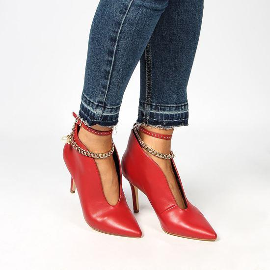Immagine di MISS GLOBO - Tronchetto rosso con scollo frontale e catenina con dettaglio perla alla caviglia, tacco 9CM