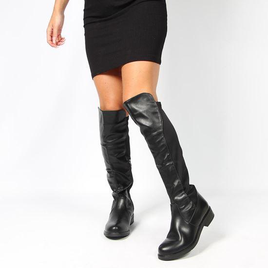 Immagine di DETTAGLI - Stivale nero con zip laterale e gambale bimateriale, tacco 3,5CM