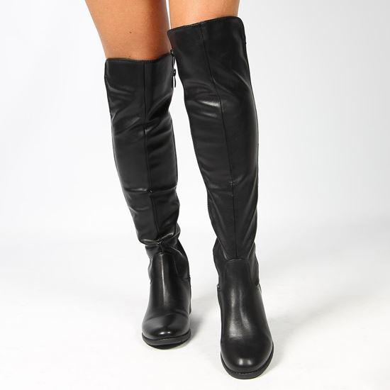 Immagine di TATOO - Stivale nero con zip laterale e gambale bimateriale, tacco 3CM