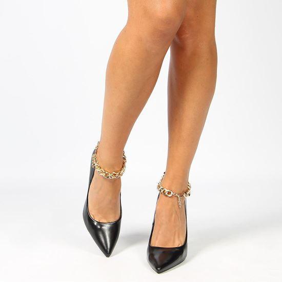 Immagine di MISS GLOBO - Décolleté nera con sottopiede in VERA PELLE e catena oro alla caviglia, tacco 11,5CM
