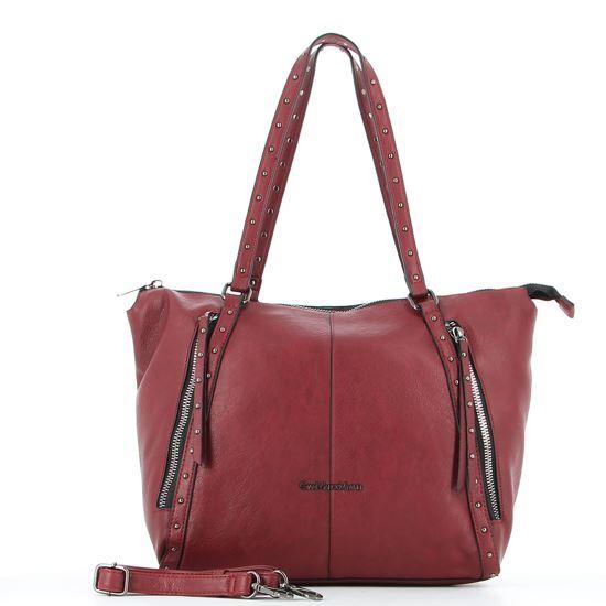 Immagine di GIANMARCO VENTURI - Borsa shopping rossa con borchie e tracolla rimovibile