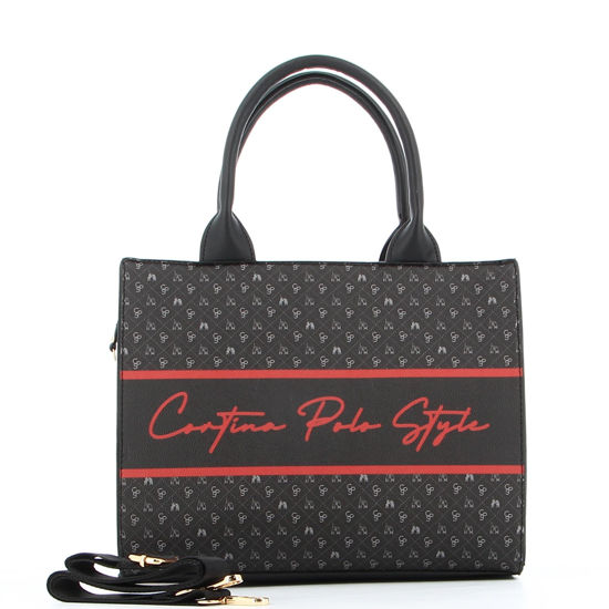Immagine di CORTINA POLO STYLE -  Borsa due manici nera con scritta rossa, tracolla rimovibile