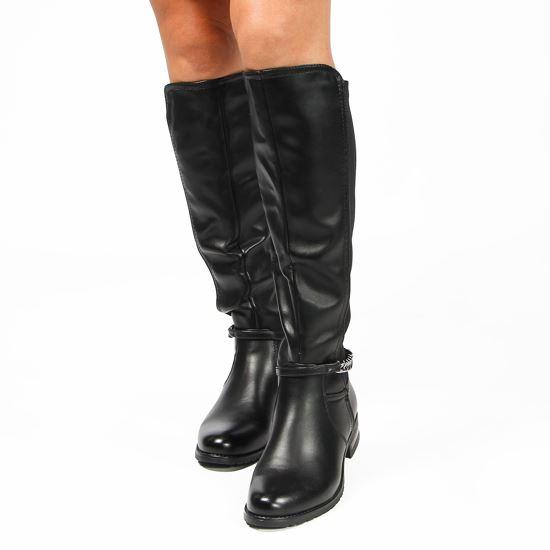 Immagine di TATOO - Stivale nero con gambale bimateriale e cinturino con catena, tacco 3CM